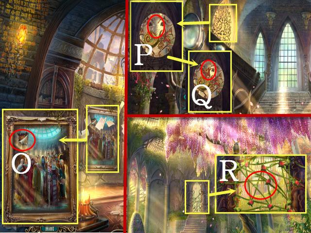 Nearwood</p> <ul> <li>Examinez le tableau et prenez le LYS (O).</li> <li>Revenez en arrière.</li> <li>Examinez la porte et examinez la poignée (P).</li> <li>Placez le LYS sur la poignée et ouvrez-la (Q).</li> <li>Entrez dans la serre et examinez le passage pour lancer un mini-jeu (R).</li> </ul> <p><img src=