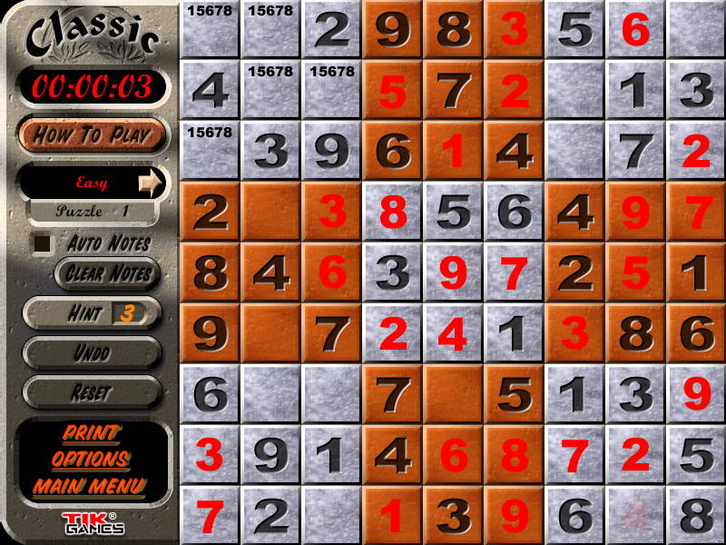 Sudoku Puzzle Solution - Penciling In 1