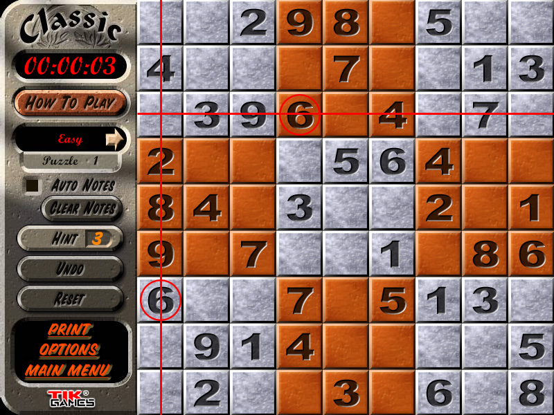 Sudoku Puzzle Solution - Crosshatching 3