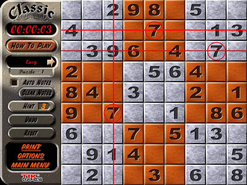 Sudoku Puzzle Solution - Crosshatching 4