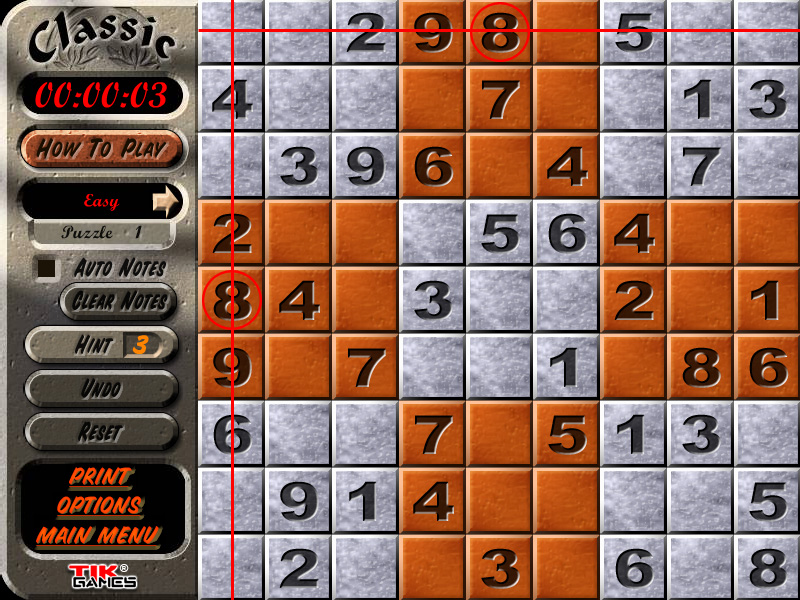 Sudoku Puzzle Solution - Crosshatching 5