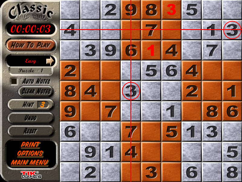 Sudoku Puzzle Solution - Crosshatching 8
