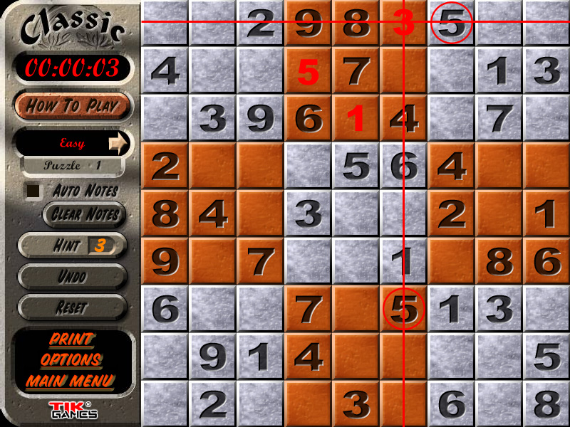 Sudoku Puzzle Solution - Crosshatching 9